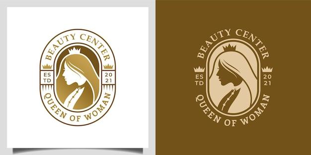 Elegante regina donna capelli lunghi con concetto di design corona per parrucchiere, design logo salone di bellezza