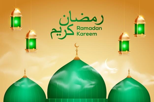 Elegante banner di celebrazione del ramadan con moschea verde. lampade a sospensione e calligrafia araba ramadan kareem