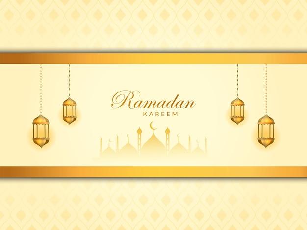 Elegante design ramadan kareem con lampada dorata