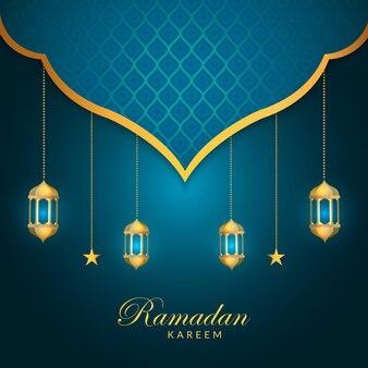 Elegante design ramadan kareem con lampada e stella