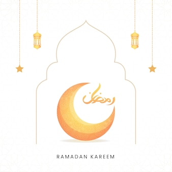 Elegante biglietto di auguri ramadan kareem con bella falce di luna astratta e calligrafia