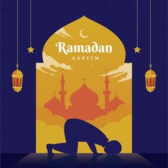 Elegante biglietto di auguri ramadan kareem con bellissimo mandala e uomo che prega