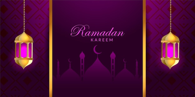 Elegante ramadan kareem con design banner