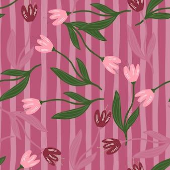 Modello senza cuciture elegante tulipano casuale su sfondo a righe.