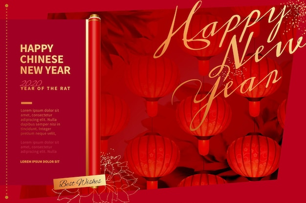 Eleganti lanterne rosse appese in aria per il capodanno cinese