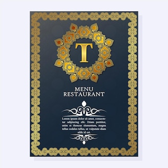 Elegante copertina del menu del ristorante con ornamento del logo