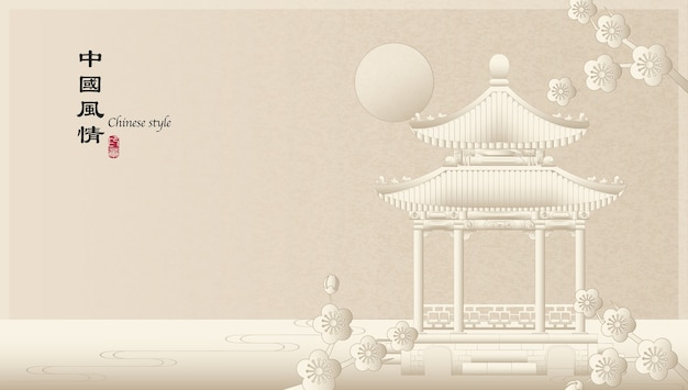 Elegante stile retrò cinese sfondo modello paesaggio di campagna di architettura padiglione edificio e fiore di prugna fiore di notte