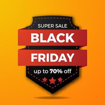 Distintivo di etichetta in stile retrò elegante con nastro per modello di banner sconto offerta vendita venerdì nero