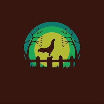 Illustrazione della siluetta del gallo elegante