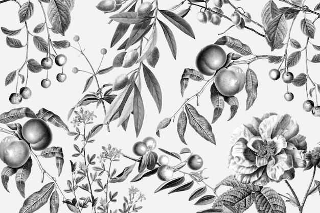 Illustrazione dell'annata di frutta in bianco e nero di vettore del motivo floreale rosa elegante