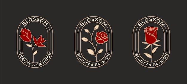 Elegante fiore rosa con logo design badge cerchio.