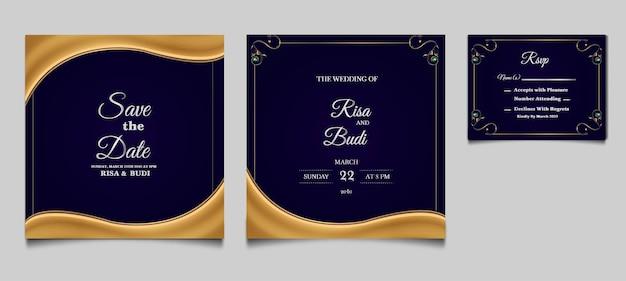 Elegante salva la data insieme di modelli di carta di invito a nozze
