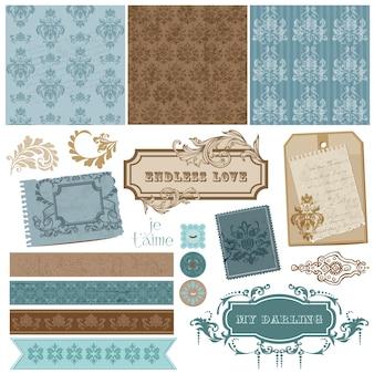 Cornici d'epoca di elementi di design elegante scrapbook