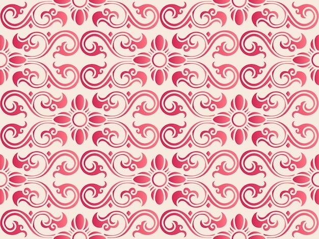 Modello di cornice floreale elegante senza cuciture in stile cinese curva botanica. design tradizionale carta da parati retrò.