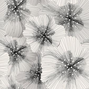 Elegante motivo floreale senza cuciture in bianco e nero