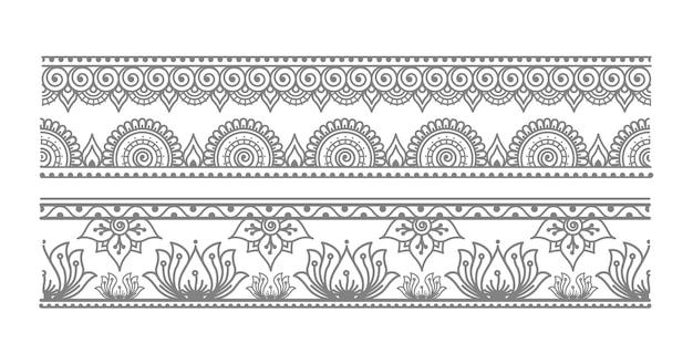 Illustrazione di confine elegante mandala senza soluzione di continuità