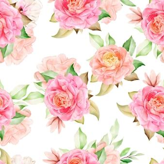 Elegante modello senza cuciture acquerello floreale