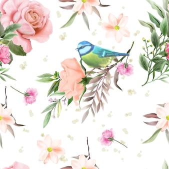 Elegante motivo senza cuciture con un bellissimo disegno floreale e acquerello di uccelli