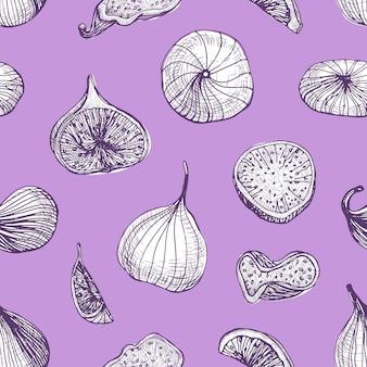 Modello senza cuciture elegante con deliziosi frutti di fico freschi e secchi disegnati a mano con linee di contorno su sfondo viola.