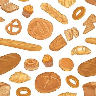 Modello senza cuciture elegante con diversi tipi di pane e deliziosi prodotti sostenuti su bianco