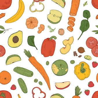 Elegante modello senza cuciture con un'alimentazione sana, cibo dietetico fresco, frutta biologica ecologica naturale, bacche e verdure su bianco