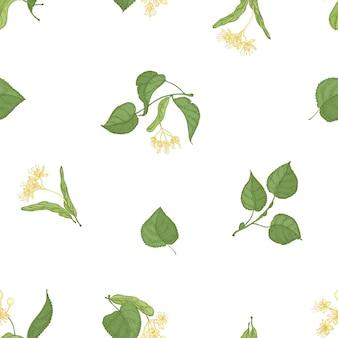 Elegante modello senza cuciture con foglie di tiglio e fiori che sbocciano su sfondo bianco.