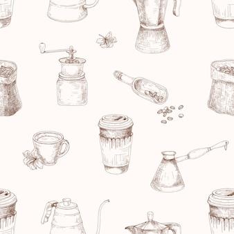 Modello senza cuciture elegante con strumenti per la preparazione del caffè disegnato a mano con linee di contorno su sfondo chiaro. illustrazione realistica in stile vintage per stampa tessile, carta da imballaggio, carta da parati.