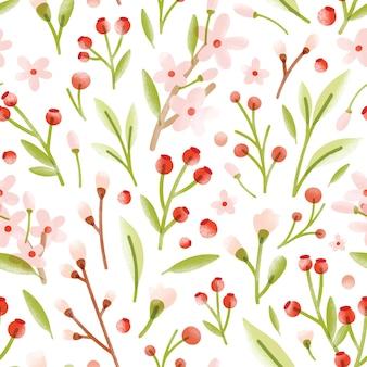 Modello senza cuciture elegante con fiori primaverili teneri traslucidi, frutti di bosco, foglie sparse su sfondo bianco