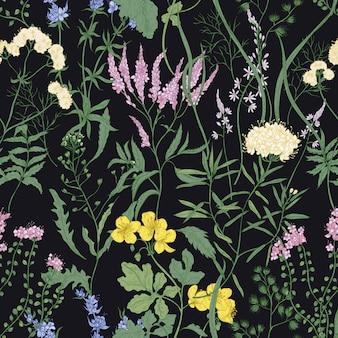 Modello senza cuciture elegante con fiori selvatici alla moda e piante erbacee sul nero