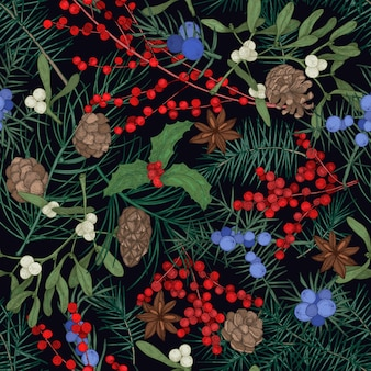 Modello senza cuciture elegante con piante stagionali invernali, rami di conifere e coni, bacche e foglie su sfondo nero