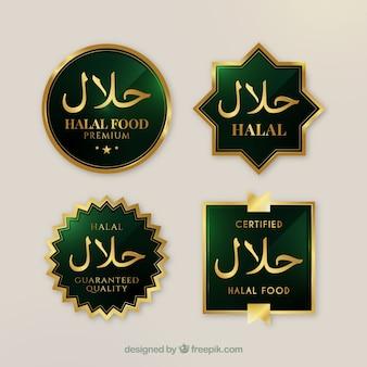 Elegante set di etichette alimentari halal con stile dorato