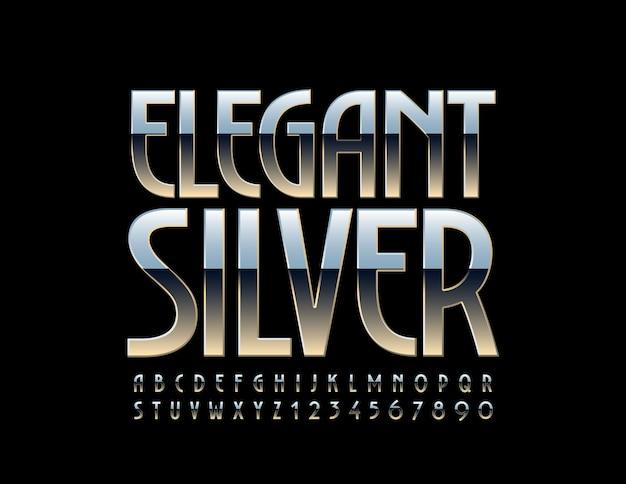 Eleganti lettere e numeri dell'alfabeto in argento. carattere metallico brillante.
