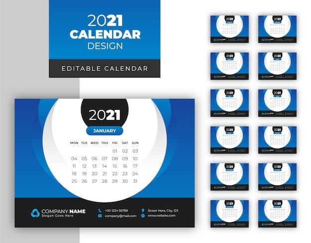 Elegante modello di calendario del nuovo anno 2021 semplice e pulito