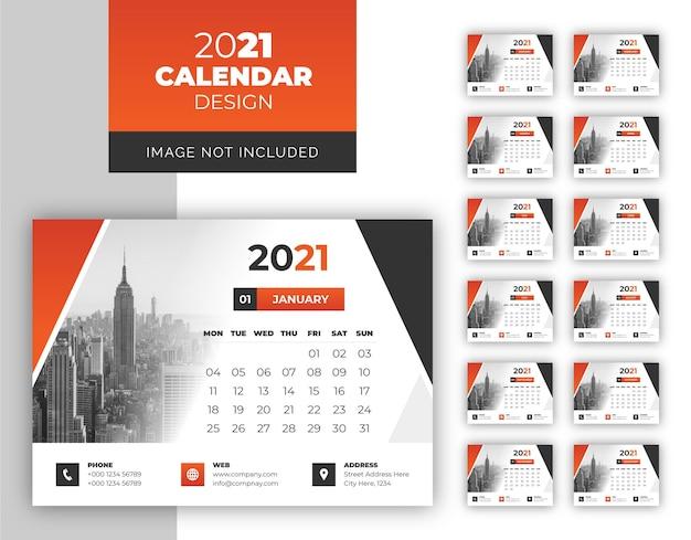 Elegante modello di calendario del nuovo anno semplice e pulito