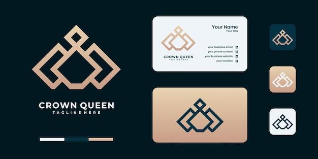 Elegante corona con logo semplice, simbolo per l'ispirazione del design del logo del regno, del re e del leader. Vettore Premium