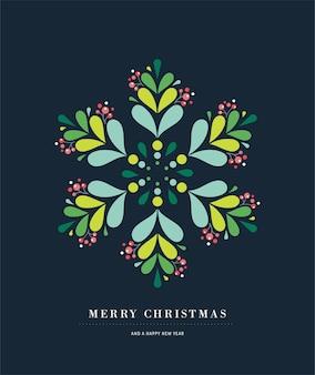 Elegante poster di fiocco di neve, icona di inverno, modello di biglietto di auguri di buon natale