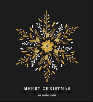 Elegante poster di fiocco di neve, icona di inverno, cartolina d'auguri di buon natale