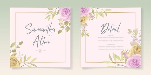Set di carte invito matrimonio floreale colorato morbido elegante