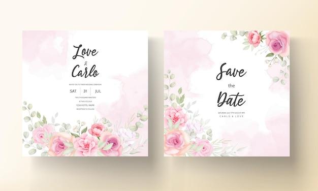 Design elegante carta di invito matrimonio floreale morbido