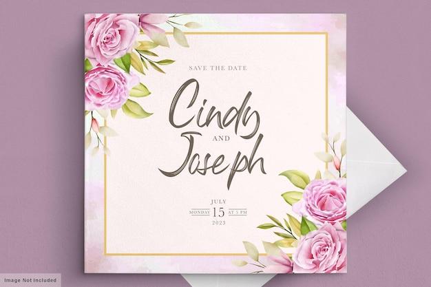 Elegante set di carte invito rose rosa tenue dell'acquerello