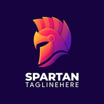 Elegante modello di logo colorato spartano