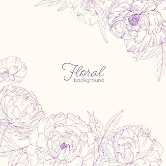 Elegante sfondo floreale quadrato decorato con peonie disegnate a mano con linee di contorno rosa su sfondo chiaro.
