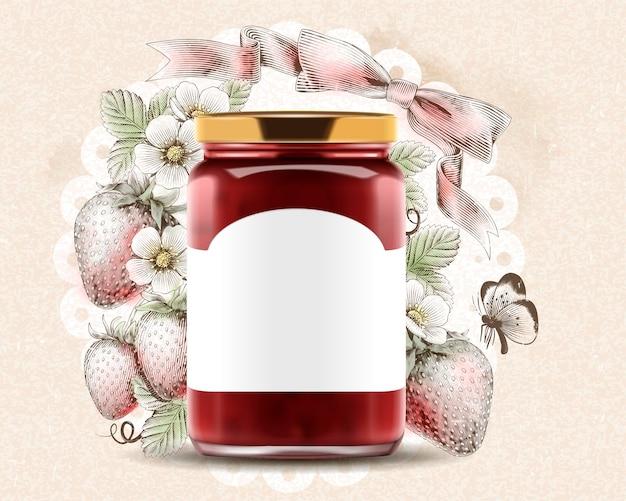 Eleganti annunci di marmellata di fragole con illustrazione 3d in un vasetto di vetro con etichetta vuota su superficie fruttata incisa