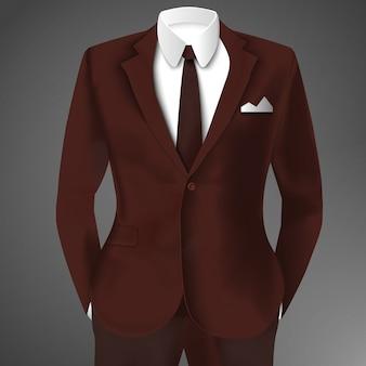 Abito elegante in colore marrone con cravatta e camicia bianca