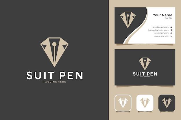 Elegante design del logo della penna del vestito e biglietto da visita