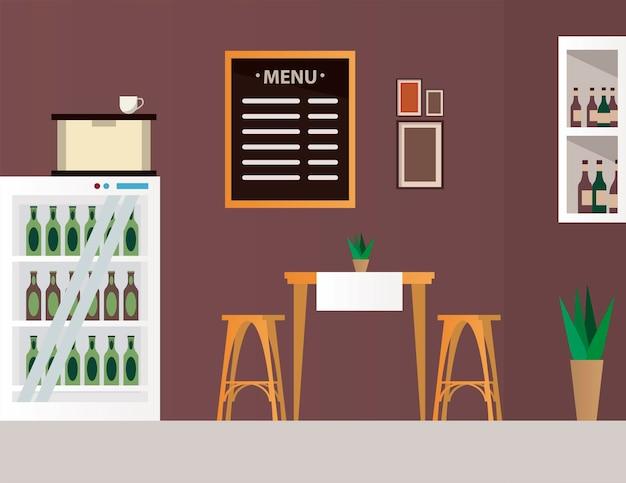 Elegante tavolo e sedie con bottiglie di vino nella scena del mobile ristorante frigo