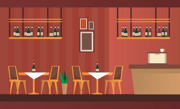 Tavoli e sedie eleganti con scena di arredo bar ristorante
