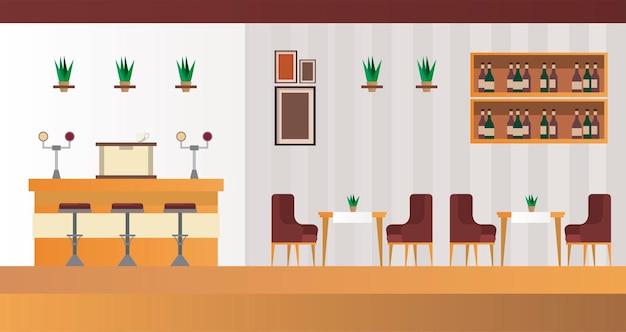 Tavoli e sedie eleganti con scena di bar ristorante