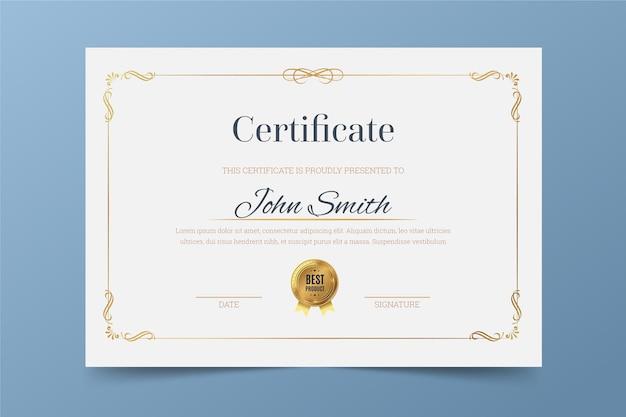 Tema elegante per modello di certificato