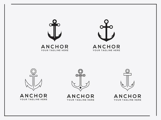Elegante icona del logo artistico alla moda set anchor logo design